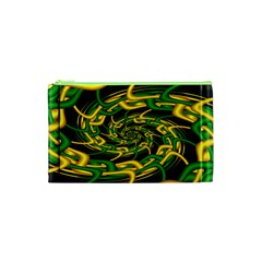 Green Yellow Fractal Vortex In 3d Glass Cosmetic Bag (XS)