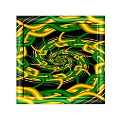 Green Yellow Fractal Vortex In 3d Glass Small Satin Scarf (square)