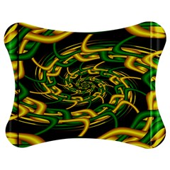 Green Yellow Fractal Vortex In 3d Glass Jigsaw Puzzle Photo Stand (bow)