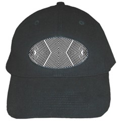 Black And White Line Abstract Black Cap