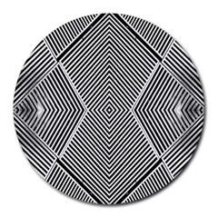 Black And White Line Abstract Round Mousepads
