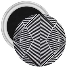 Black And White Line Abstract 3  Magnets