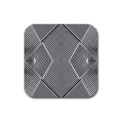 Black And White Line Abstract Rubber Coaster (square)