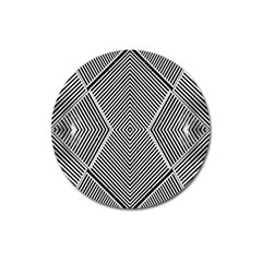 Black And White Line Abstract Magnet 3  (Round)