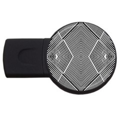 Black And White Line Abstract Usb Flash Drive Round (2 Gb)