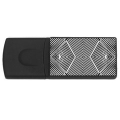 Black And White Line Abstract USB Flash Drive Rectangular (1 GB)