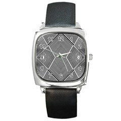 Black And White Line Abstract Square Metal Watch