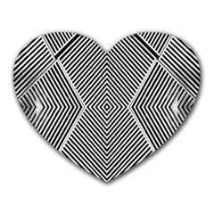 Black And White Line Abstract Heart Mousepads