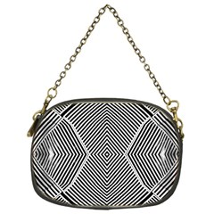 Black And White Line Abstract Chain Purses (one Side)