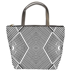 Black And White Line Abstract Bucket Bags