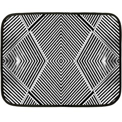 Black And White Line Abstract Double Sided Fleece Blanket (mini)