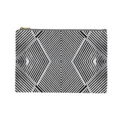 Black And White Line Abstract Cosmetic Bag (large)