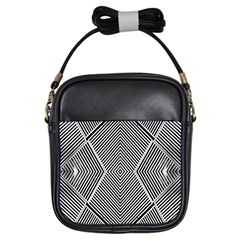 Black And White Line Abstract Girls Sling Bags