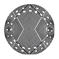 Black And White Line Abstract Round Filigree Ornament (Two Sides)