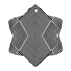 Black And White Line Abstract Snowflake Ornament (Two Sides)