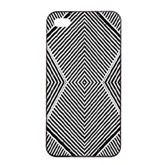 Black And White Line Abstract Apple iPhone 4/4s Seamless Case (Black)