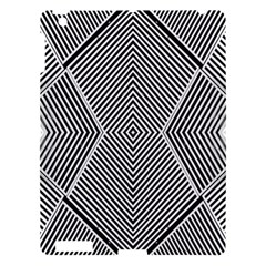Black And White Line Abstract Apple iPad 3/4 Hardshell Case