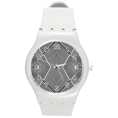 Black And White Line Abstract Round Plastic Sport Watch (M)