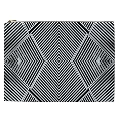 Black And White Line Abstract Cosmetic Bag (XXL)