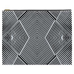 Black And White Line Abstract Cosmetic Bag (xxxl)