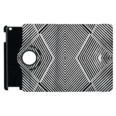 Black And White Line Abstract Apple iPad 3/4 Flip 360 Case