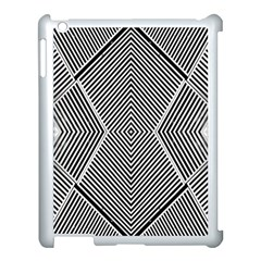 Black And White Line Abstract Apple iPad 3/4 Case (White)