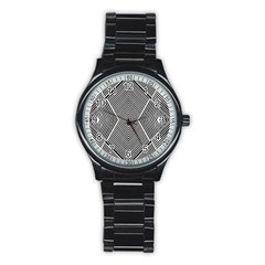 Black And White Line Abstract Stainless Steel Round Watch