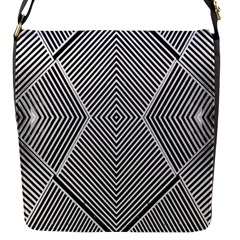 Black And White Line Abstract Flap Messenger Bag (s)