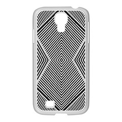 Black And White Line Abstract Samsung GALAXY S4 I9500/ I9505 Case (White)