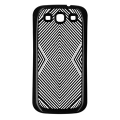 Black And White Line Abstract Samsung Galaxy S3 Back Case (Black)