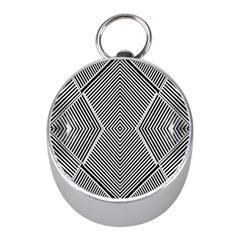 Black And White Line Abstract Mini Silver Compasses