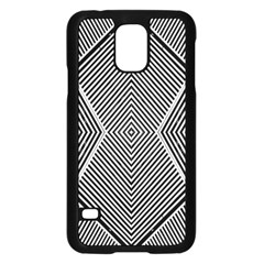 Black And White Line Abstract Samsung Galaxy S5 Case (Black)
