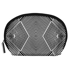 Black And White Line Abstract Accessory Pouches (large)