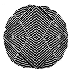 Black And White Line Abstract Large 18  Premium Flano Round Cushions