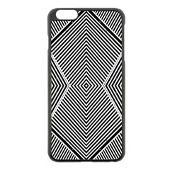 Black And White Line Abstract Apple iPhone 6 Plus/6S Plus Black Enamel Case