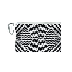 Black And White Line Abstract Canvas Cosmetic Bag (S)