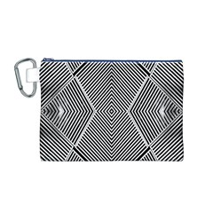 Black And White Line Abstract Canvas Cosmetic Bag (m)