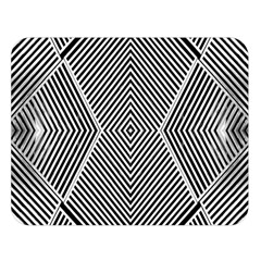 Black And White Line Abstract Double Sided Flano Blanket (Large)