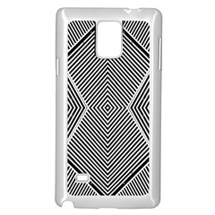 Black And White Line Abstract Samsung Galaxy Note 4 Case (White)