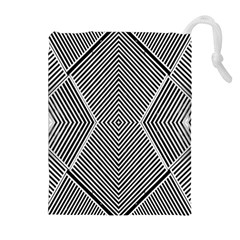 Black And White Line Abstract Drawstring Pouches (extra Large)
