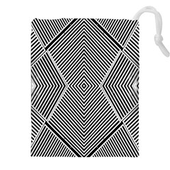 Black And White Line Abstract Drawstring Pouches (xxl)