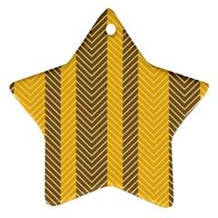 Brown And Orange Herringbone Pattern Wallpaper Background Ornament (star)