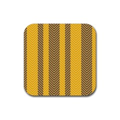 Brown And Orange Herringbone Pattern Wallpaper Background Rubber Coaster (square)