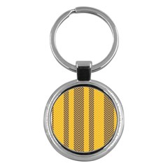 Brown And Orange Herringbone Pattern Wallpaper Background Key Chains (round)