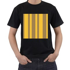 Brown And Orange Herringbone Pattern Wallpaper Background Men s T-Shirt (Black) (Two Sided)