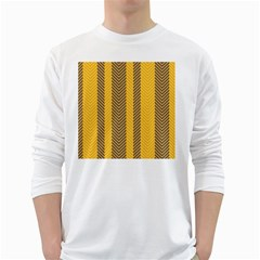 Brown And Orange Herringbone Pattern Wallpaper Background White Long Sleeve T-Shirts