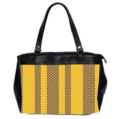 Brown And Orange Herringbone Pattern Wallpaper Background Office Handbags (2 Sides)