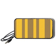 Brown And Orange Herringbone Pattern Wallpaper Background Portable Speaker (black)