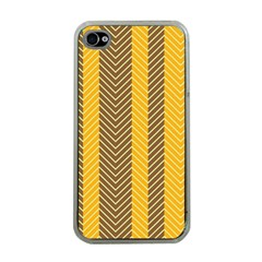 Brown And Orange Herringbone Pattern Wallpaper Background Apple iPhone 4 Case (Clear)