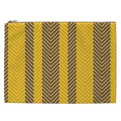 Brown And Orange Herringbone Pattern Wallpaper Background Cosmetic Bag (XXL)